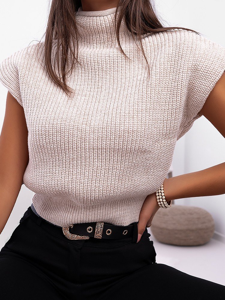 ORELIA BEIGE KNITTED BLOUSE