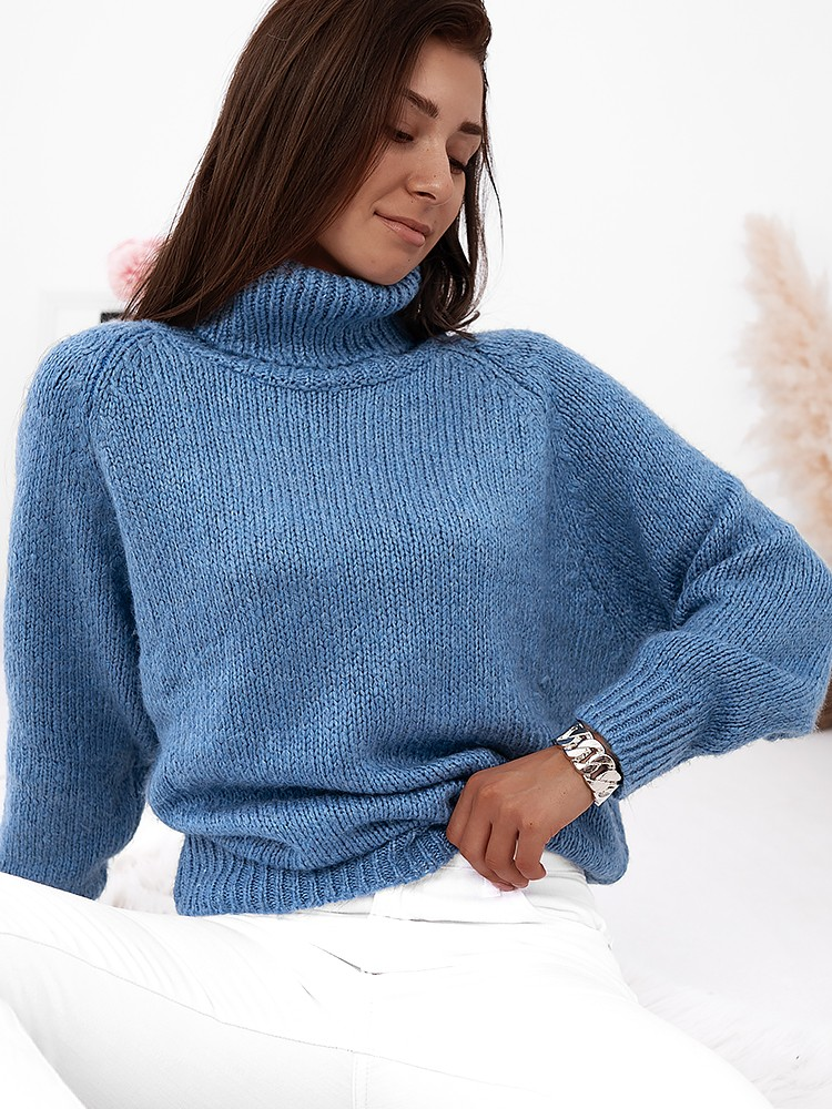 VICKY BLUE KNITTED BLOUSE