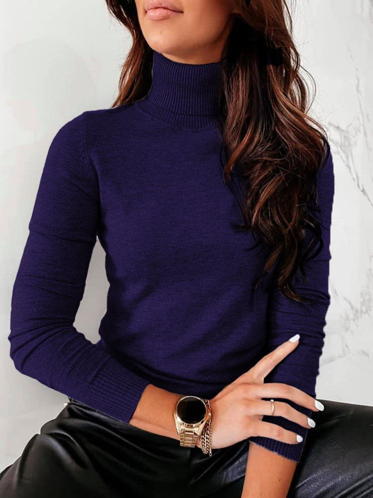 TRISHA NAVY BLUE TURTLENECK