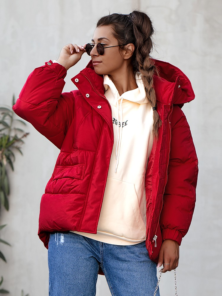 JULEE RED PUFFER JACKET