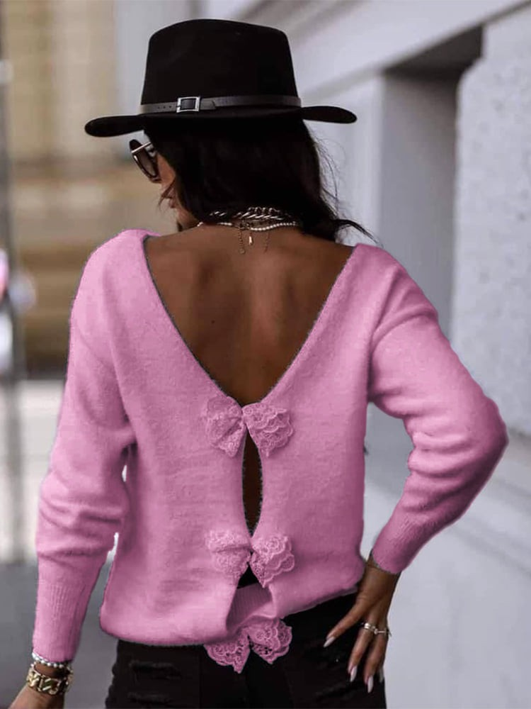 BOW PINK KNITTED BLOUSE