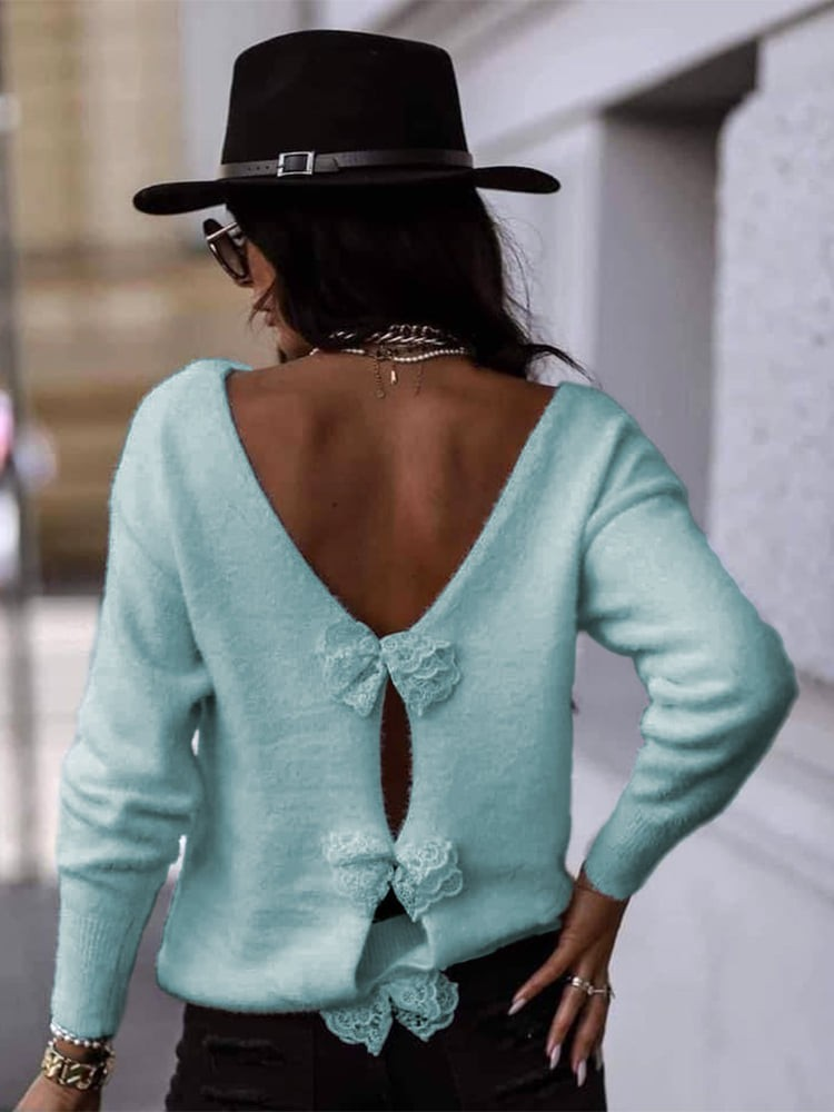 BOW SKY BLUE KNITTED BLOUSE