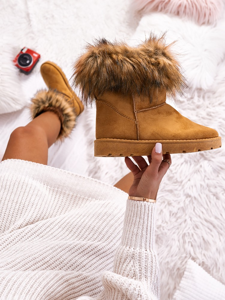 NANTIA CAMEL FUR BOOTIES