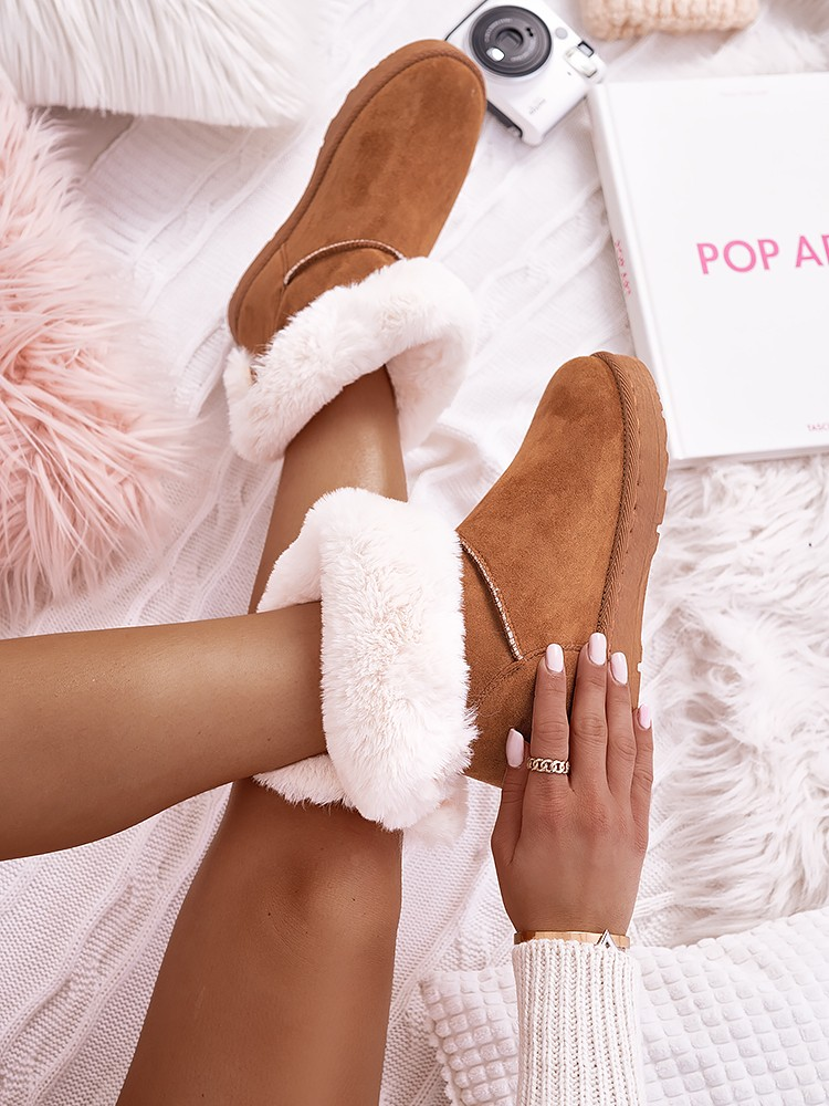 CAMEL BOW FUR BOOTIES