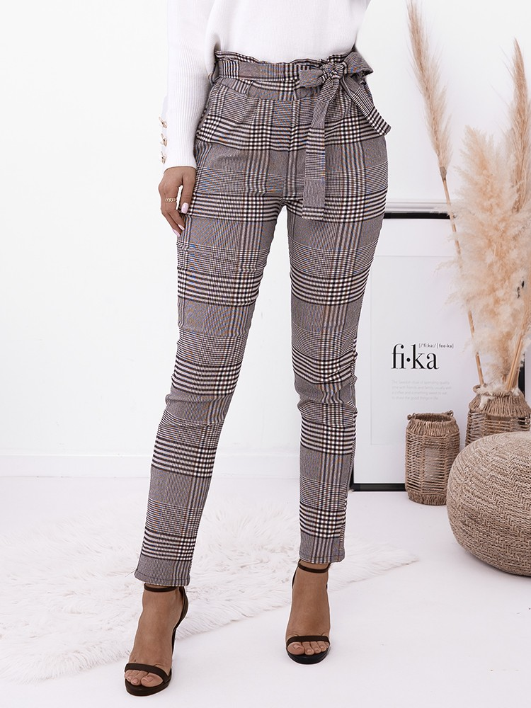 MARKLE CAMEL CHECKED PANTS