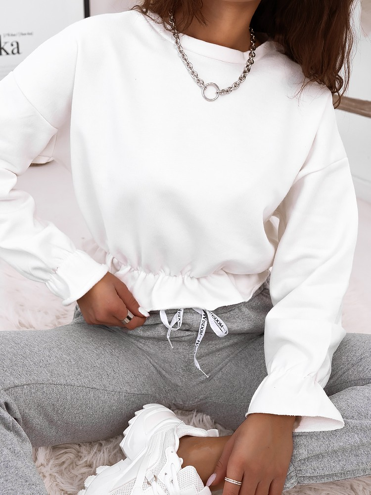 ODRY WHITE CROP BLOUSE