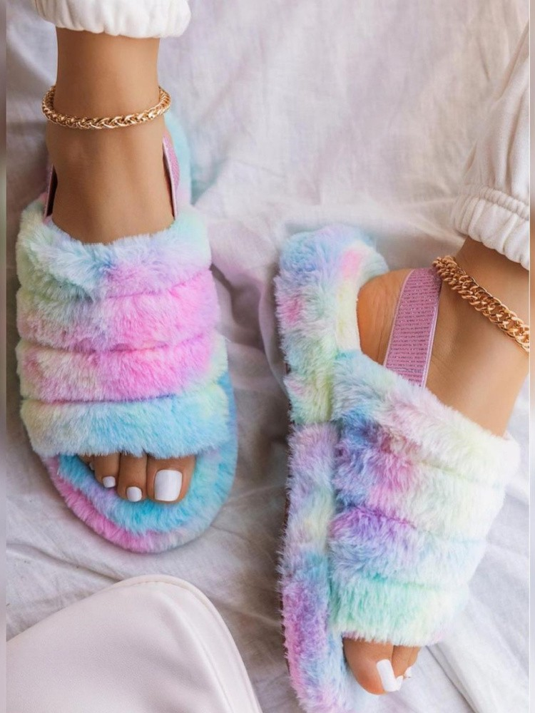 FLUFFY RAINBOW SLIPPERS