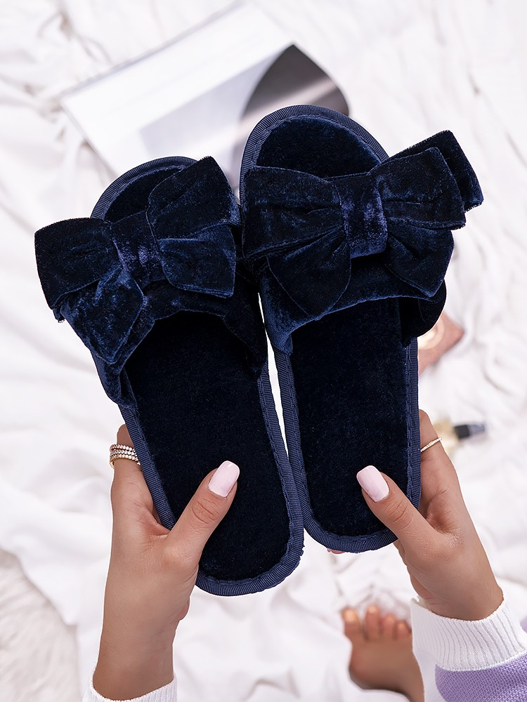 BLUE VELOUR BOW SLIPPERS