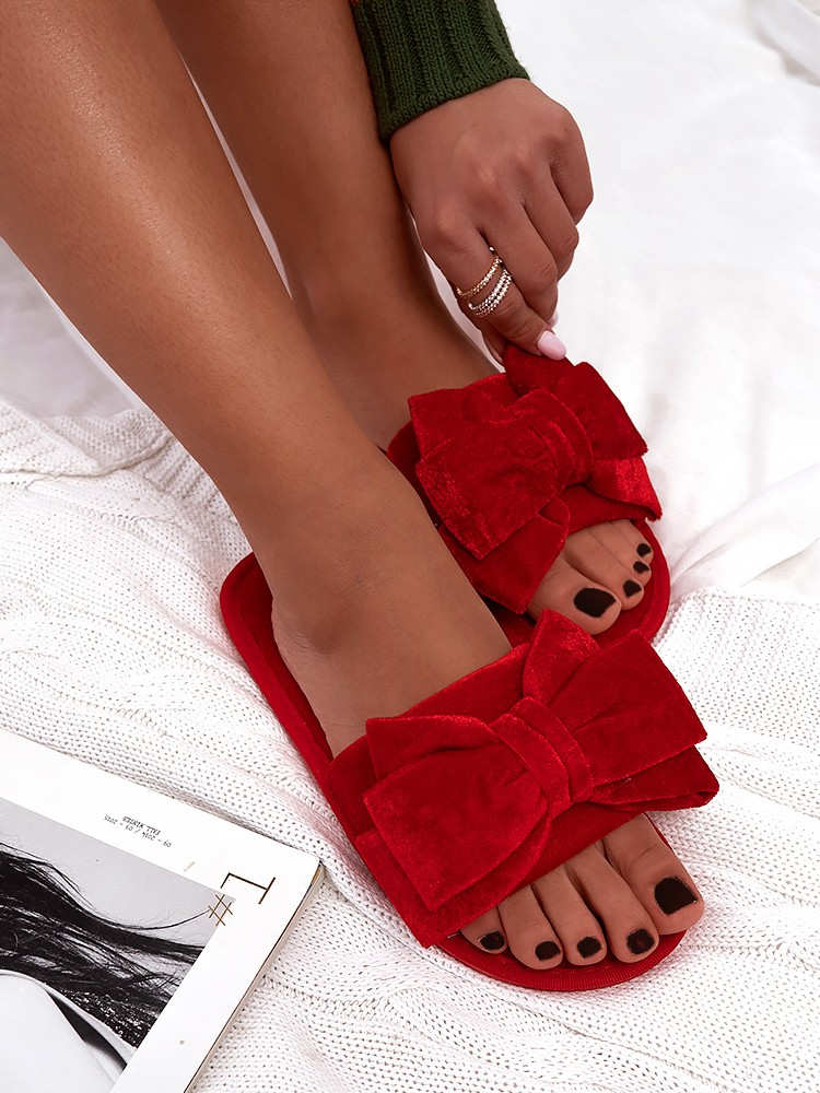 RED VELOUR BOW SLIPPERS