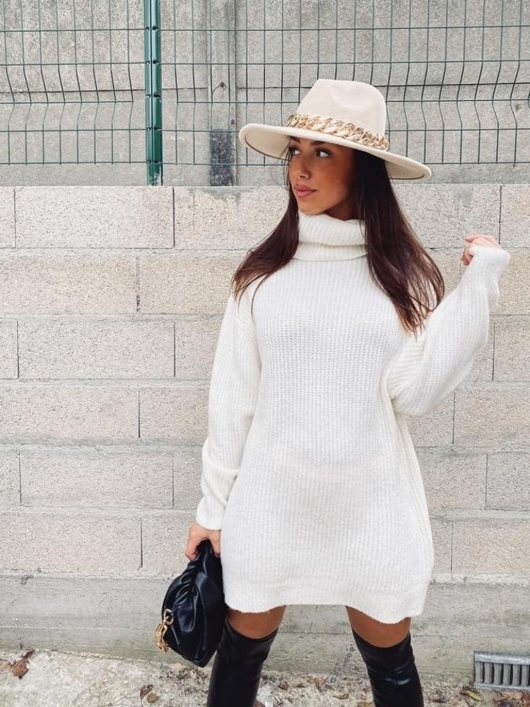 LIANA WHITE KNITTED DRESS