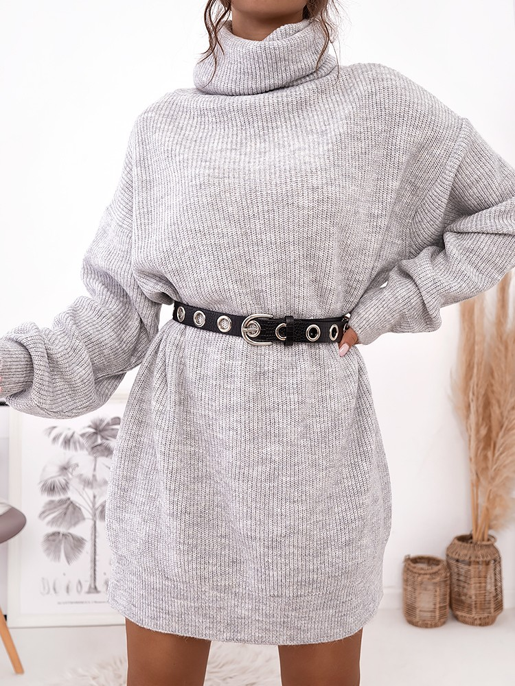 LIANA LIGHT GREY KNITTED DRESS
