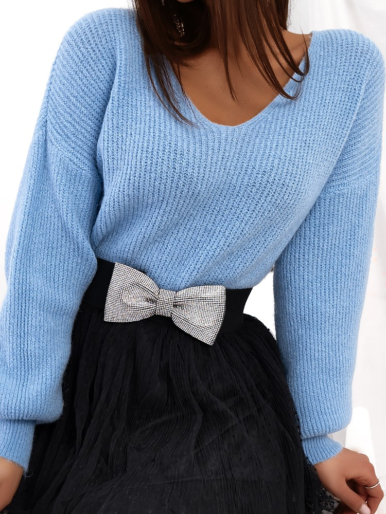 DIDO SKY BLUE KNITTED BLOUSE