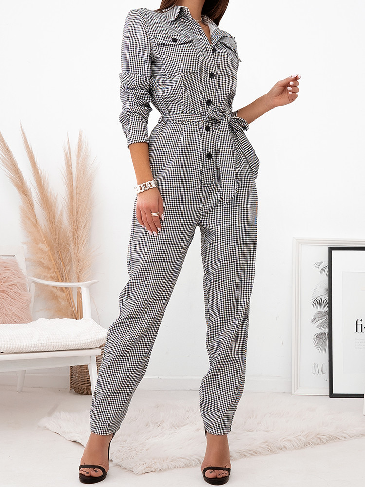 ZENEV CHECKED JUMPSUIT