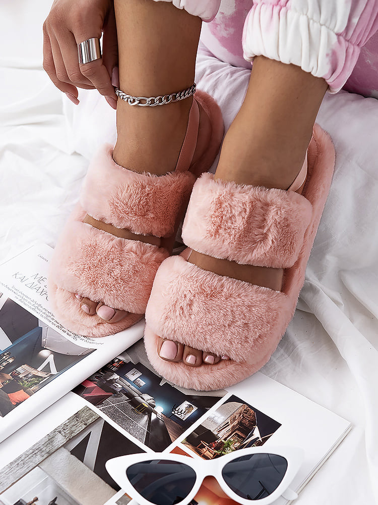 HUGGIE SALMON FUR SLIPPERS