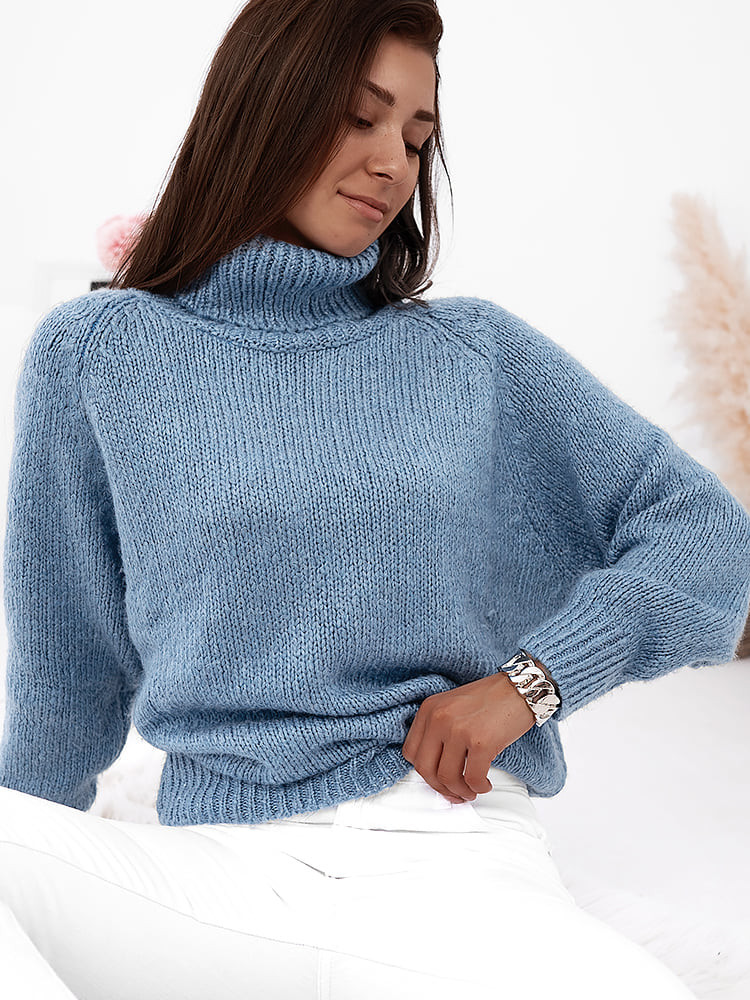 VICKY SKY BLUE KNITTED BLOUSE