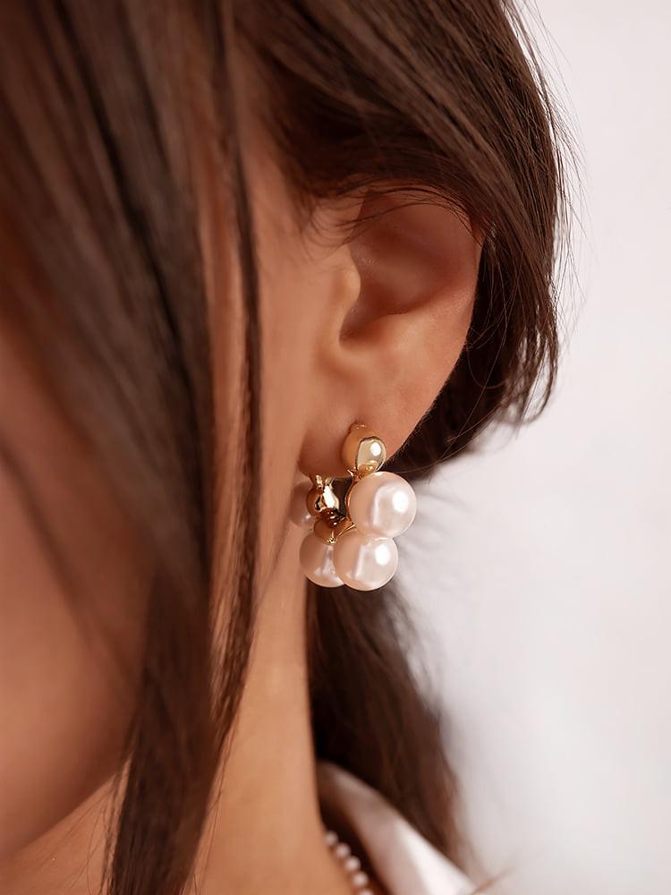 BUBBLE PEARL HOOP EARRINGS
