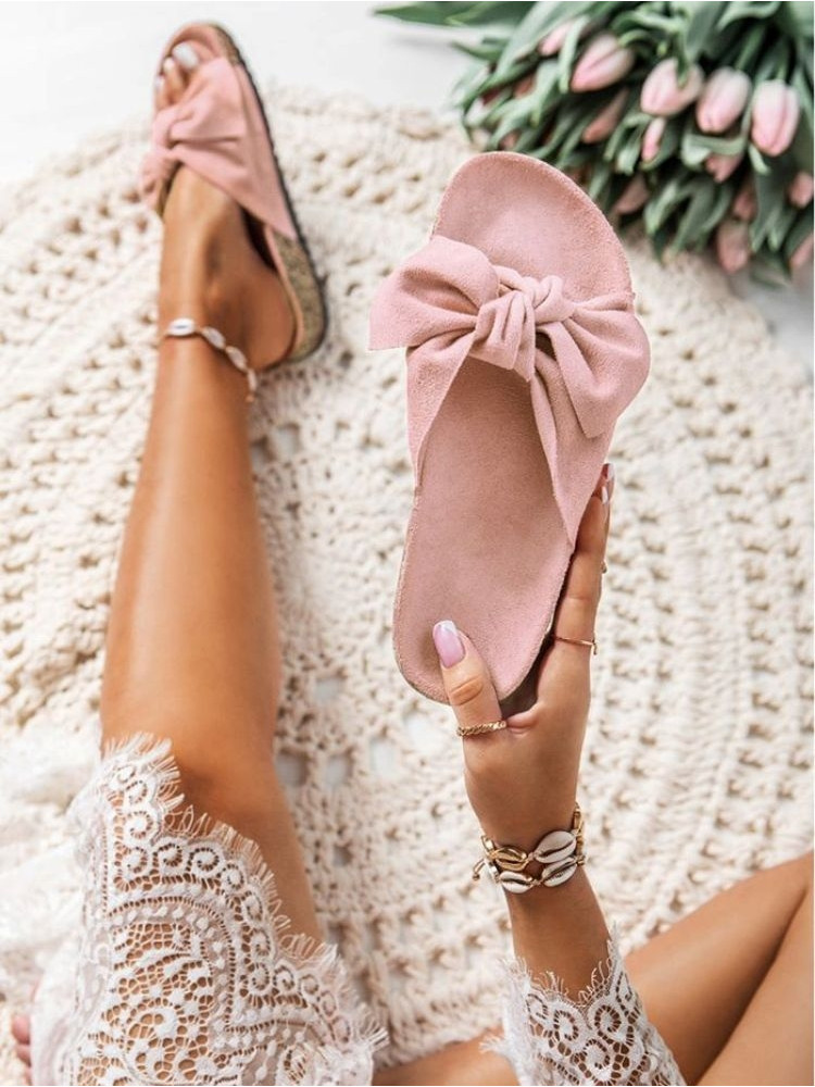 PINK SUEDE BOW SLIPPERS