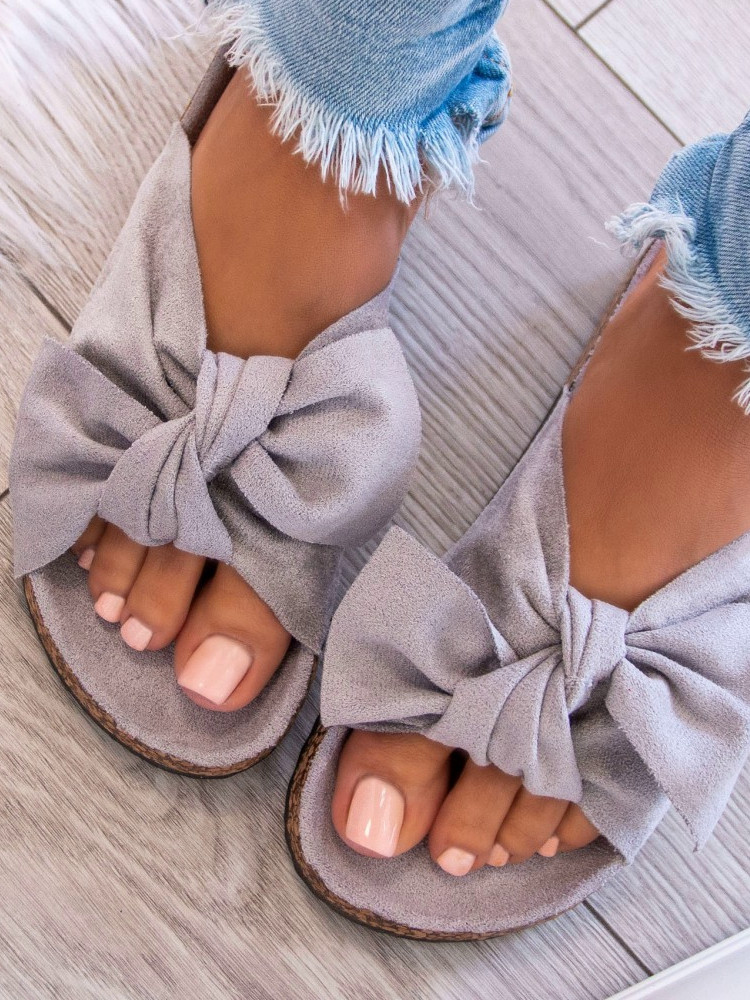 GREY SUEDE BOW SLIPPERS