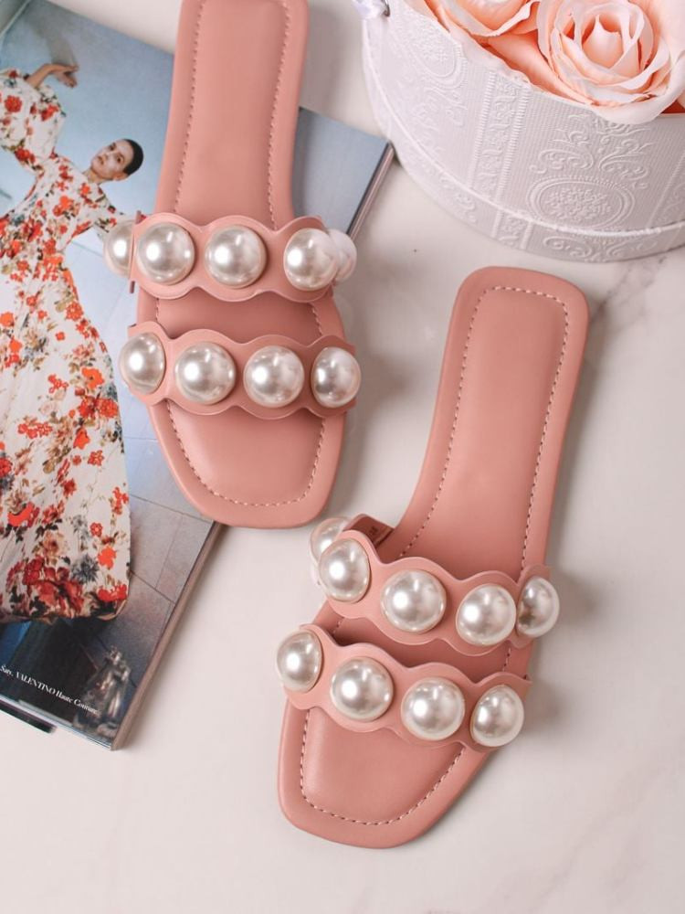 DOUBLE PEARL SALMON SLIPPERS