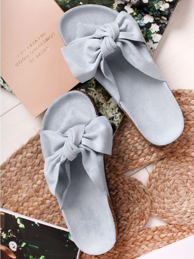 SKY BLUE SUEDE BOW SLIPPERS