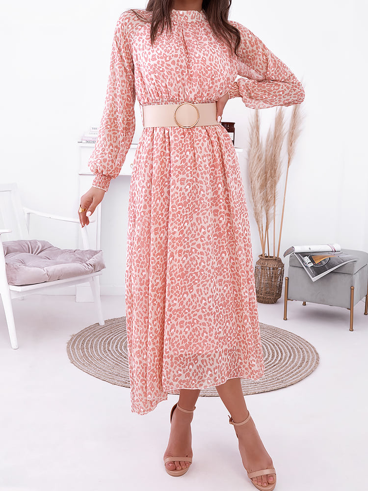 IRENE LEOPARD SALMON DRESS