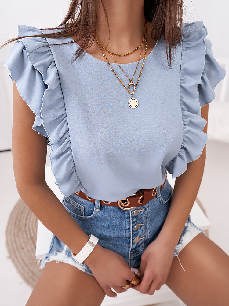 HALLE BABY BLUE BLOUSE