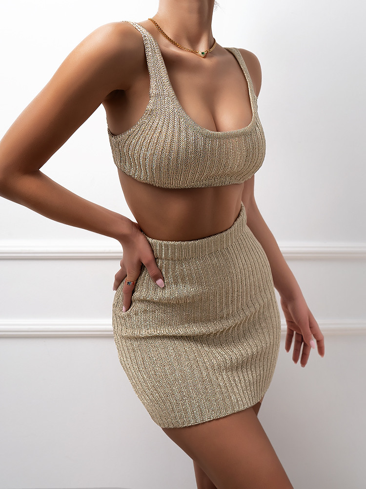SIMONE GOLD KNITTED SET