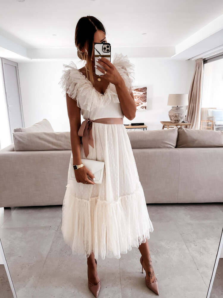 ALISHA CREAM TULLE DRESS