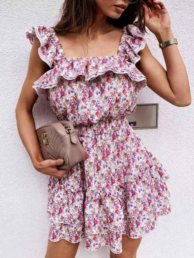 ASK WHITE FLORAL DRESS