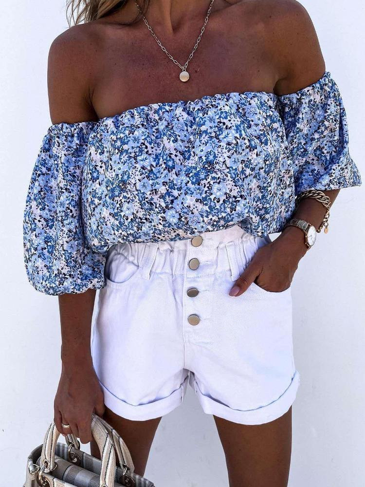 WARDEN BLUE CROP BLOUSE