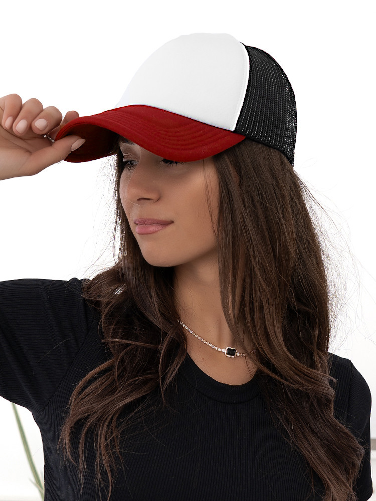 TRUCKER RED WHITE HAT
