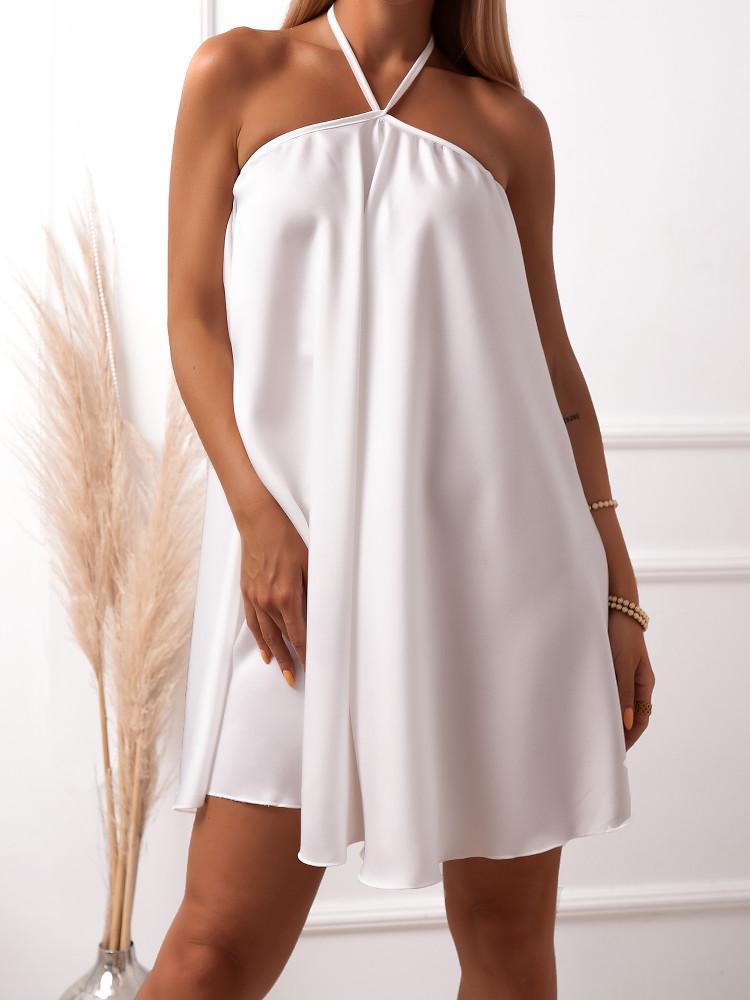 BRYCE WHITE SATIN DRESS