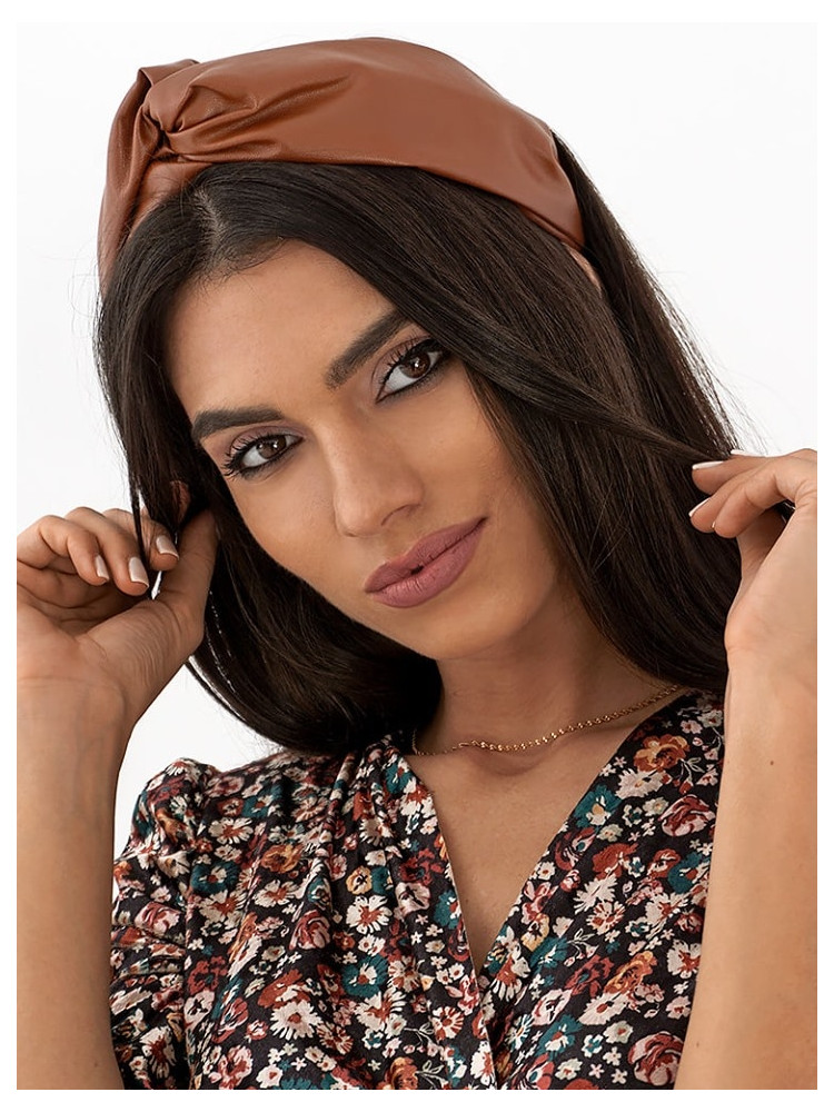 BROWN LEATHER KNOT HEADBAND