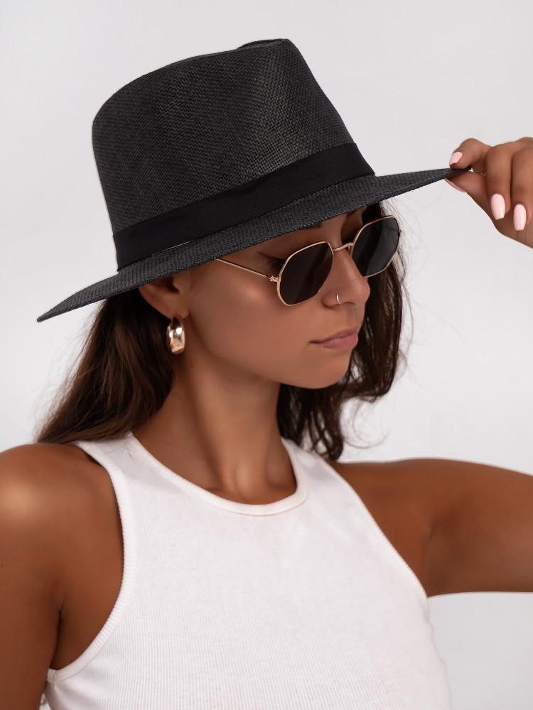 STRAW SUMMER BLACK HAT