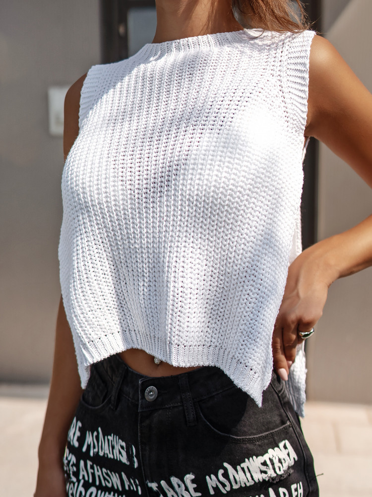 ELISET WHITE KNITTED TOP