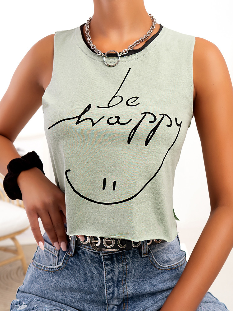 BE HAPPY MINT TANK TOP
