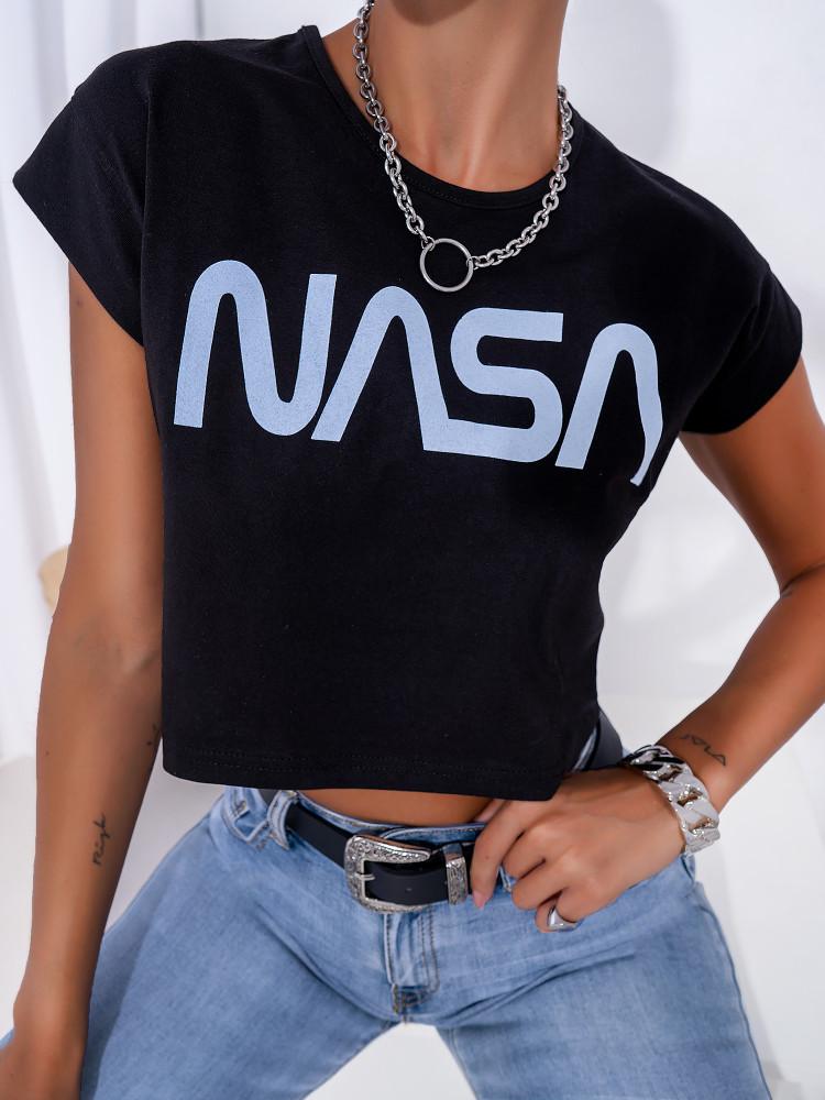 NASA BLACK CROP T-SHIRT