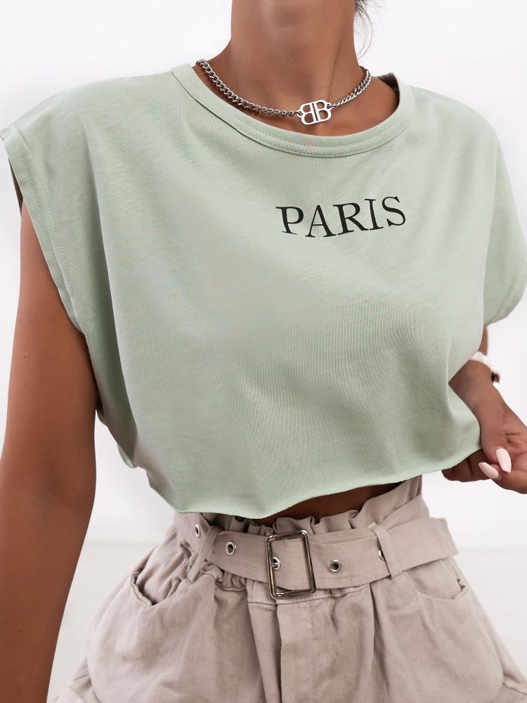 PARIS MINT CROP T-SHIRT