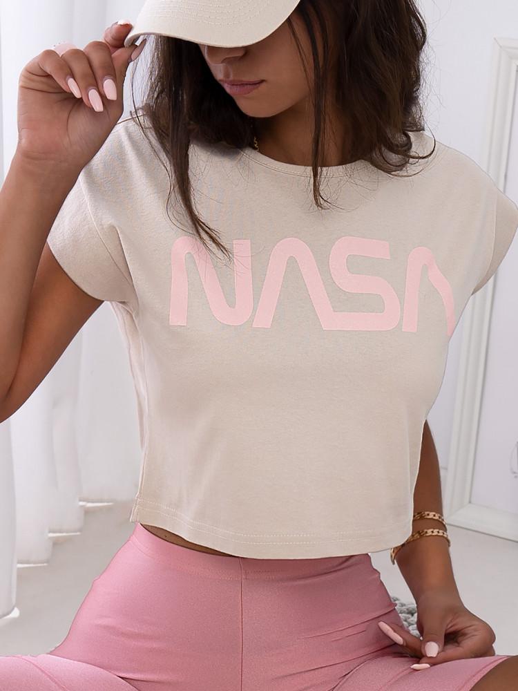 NASA BEIGE CROP T-SHIRT