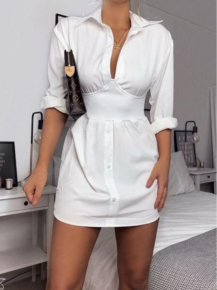 WHITE LONG CORSET SHIRT DRESS