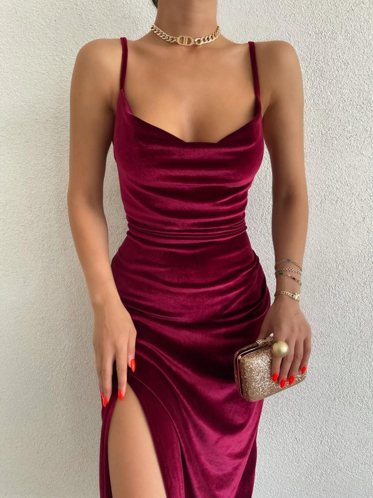 PADOVA BURGUNDY VELVET DRESS
