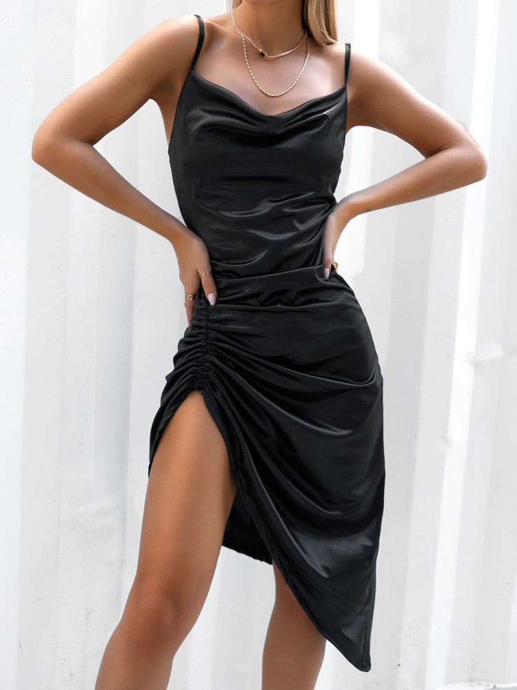 AYLIN BLACK SATIN DRESS