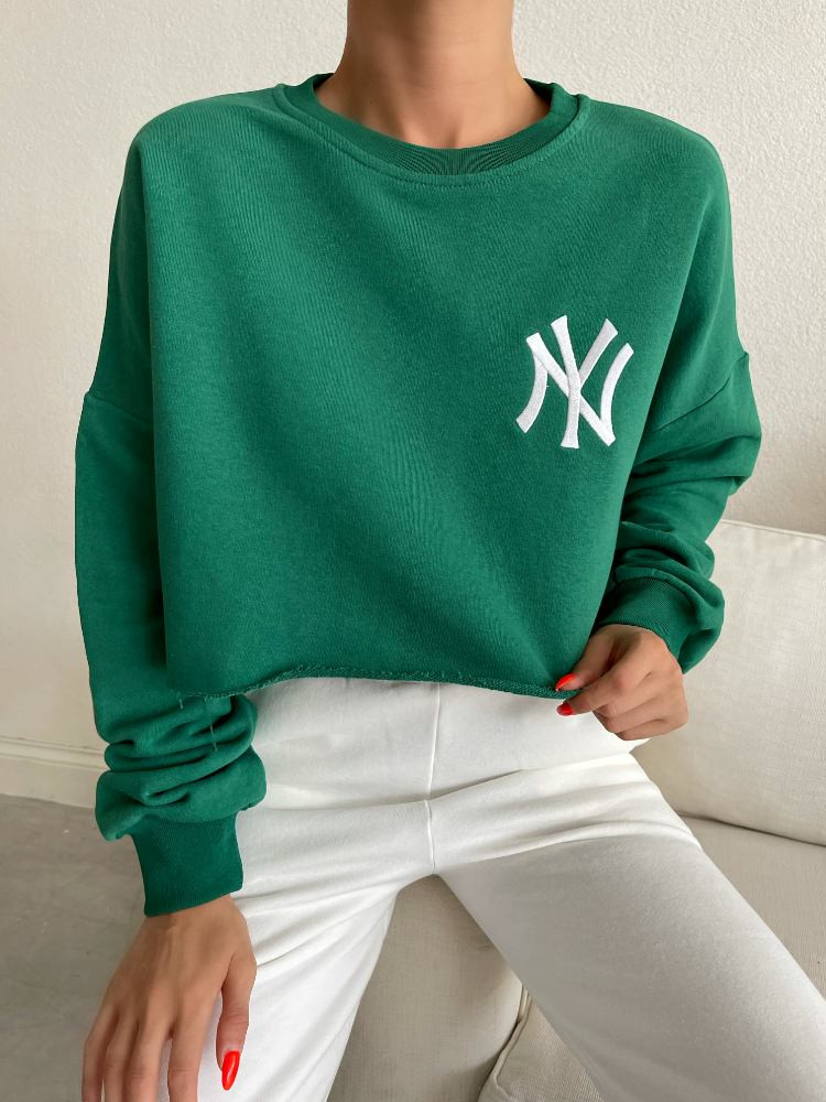 NY GREEN CROP BLOUSE