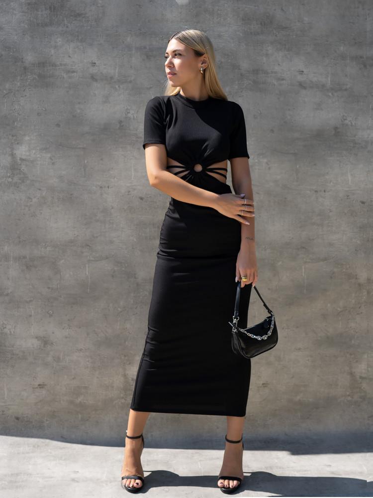 ZAIA RIPPED BLACK DRESS
