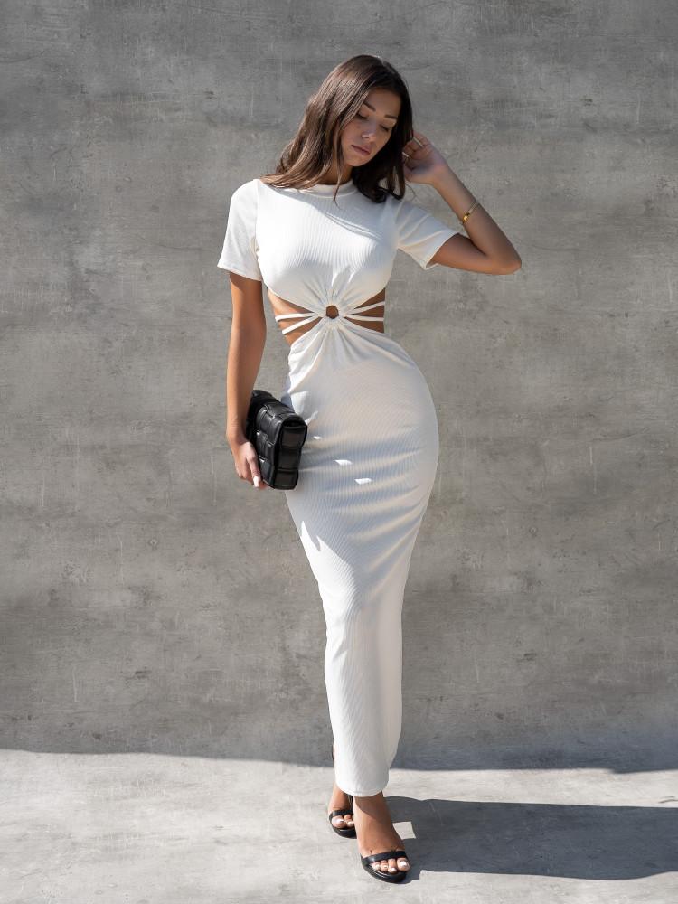ZAIA RIPPED WHITE DRESS