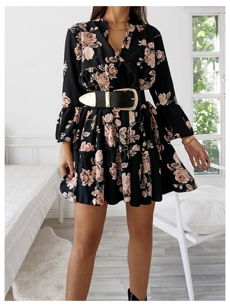 ZIRGONIA BLACK FLORAL DRESS