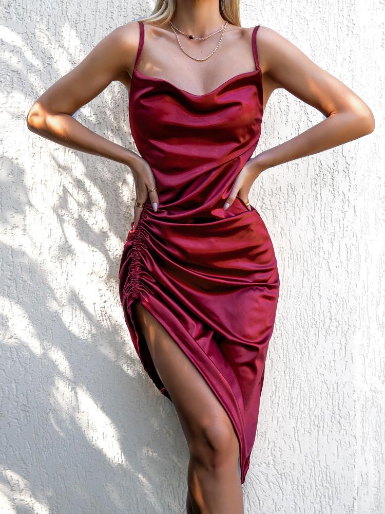 AYLIN WINE SATIN DRESS