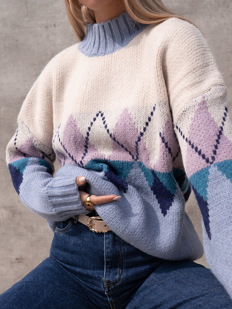 QUENTIN DUSTY BLUE KNITTED...