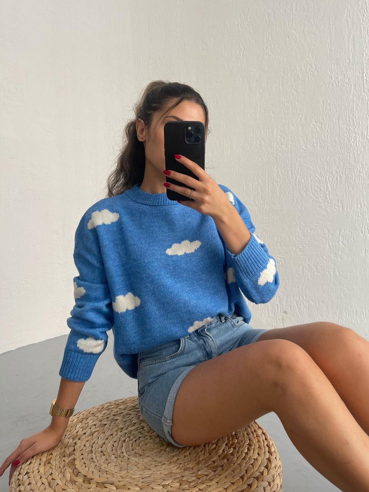 CLOUDY LIGHT BLUE KNITTED...