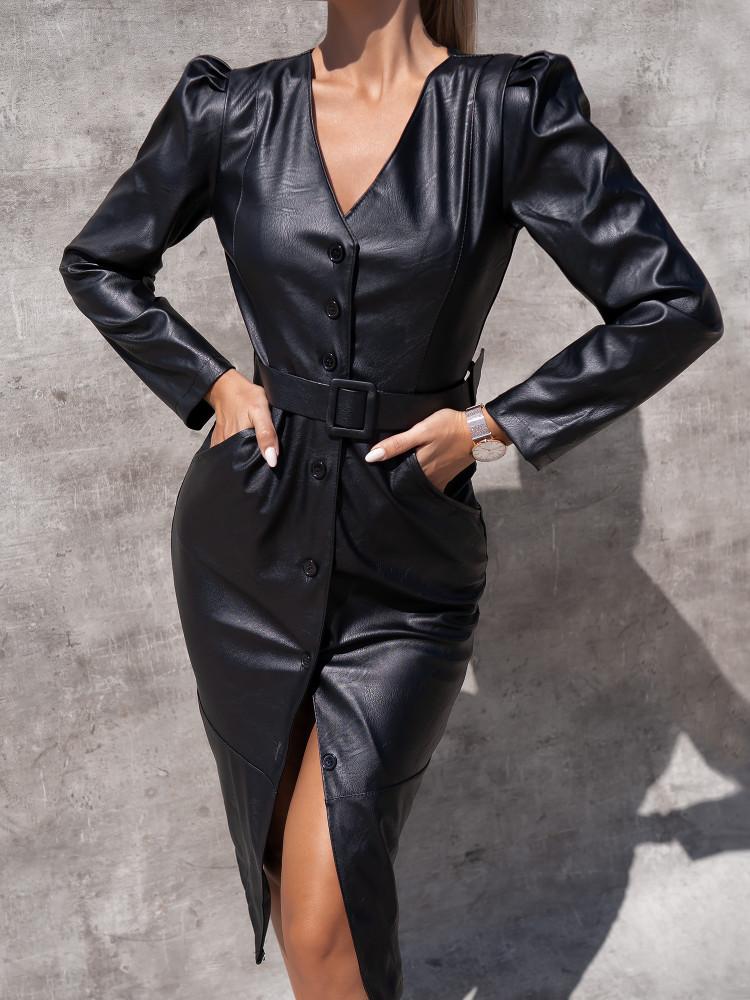 KAIRA BLACK ECO LEATHER DRESS